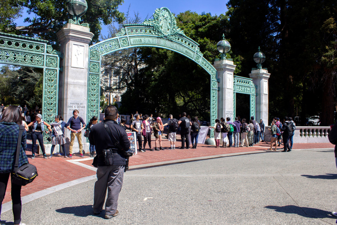 Student protest at the Sather Gate on the campus of U.C. Berkeley.